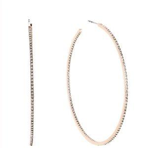 Michael Kors Rose Gold Crystal Paved Hoop Earrings